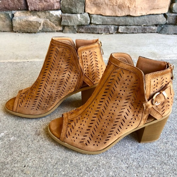 db658257b7ebe Shoes   Brown Laser Cut Ankle Booties   Poshmark